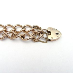 10K Yellow Gold 7″ Open Curb Link Bracelet w/Heart Clasp