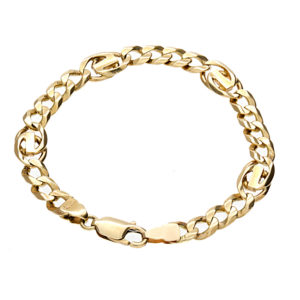 14K Yellow Gold 7.75″ Fancy Curb Link Bracelet