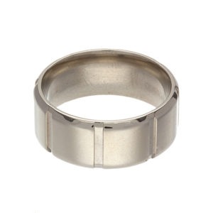 10K White Gold 10mm Wide Etched Pattern Wedding Band