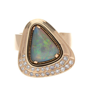 14K Yellow Gold 2.35CT Black Opal Ring w/ 25 Diamonds