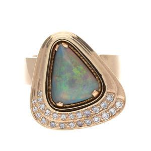 14K Yellow Gold 2.35CT Black Opal Ring w/ 25 Diamonds