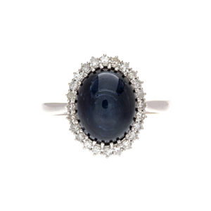 14K White Gold 6.45CT Star Sapphire & 24 Diamond Cluster Ring