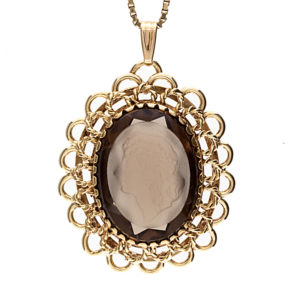 Fancy 10K Yellow Gold Smokey Quartz Intaglio Pendant