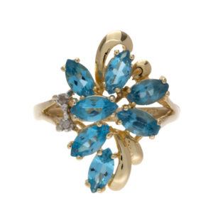 14K Yellow Gold 7 Marquise Blue Topaz & 2 Diamond Cluster Ring