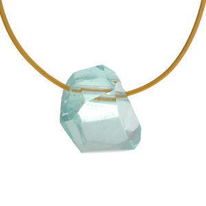 22K Yellow Gold Necklace & Natural 54.07CT Aquamarine Pendant