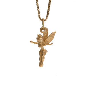 Playful 14K Yellow Gold 23mm Tinkerbell Charm/Pendant