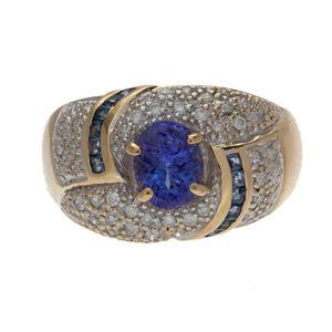 14K Yellow Gold Tanzanite & Diamond Swirl Ring