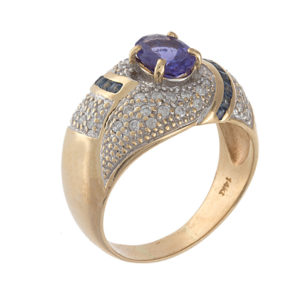 14K Yellow Gold Tanzanite & Diamond Swirl Ring
