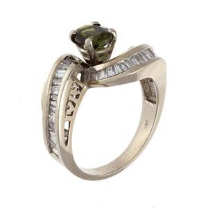 14K White Gold 1.40CT Green Tourmaline & 32 Diamond Ring