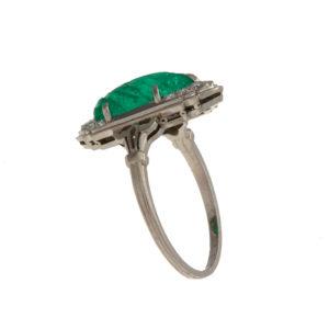 Vintage Platinum 3.9CT Emerald Leaf & 12 Diamond Ring