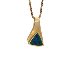 Sparkling 14K Yellow Gold Triangular Opal Inlay Slider Pendant