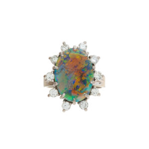 18K White Gold Large Oval Natural Black Opal Ring w/ 10 Diamonds
