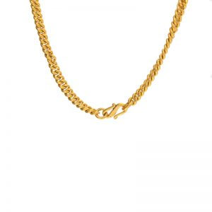 "Solid 24K Yellow Gold 24″ Heavy Curb Link Chain w/ ""S"" Clasp"
