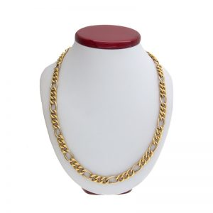 Stylish 18K Yellow & White Gold 25″ Figaro Link Chain