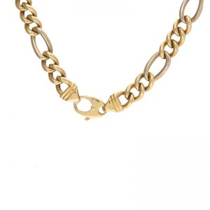 Stylish 18K Yellow & White Gold 25″ Figaro Link Chain