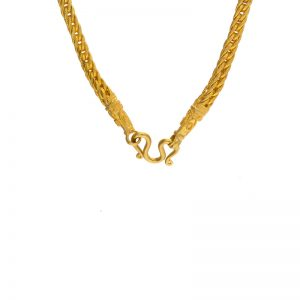 "23K Yellow Gold 23″ Woven Square Style Link Chain w/ ""S"" Clasp"