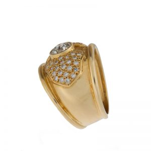 14K Yellow Gold 47 Diamond 1.64TDW Dinner Style Ring