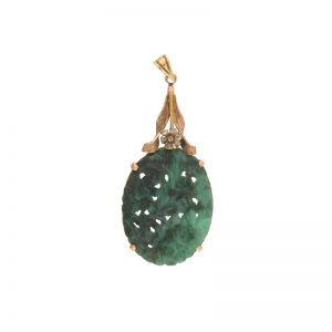 10K Yellow Gold Floral Carved Green Jadeite Pendant