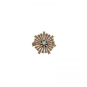 Antique 14K Yellow Gold Opal Centre Seed Pearl Sunburst Pin
