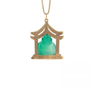 10K Yellow Gold Dyed Green Agate Buddha in Pagoda Pendant