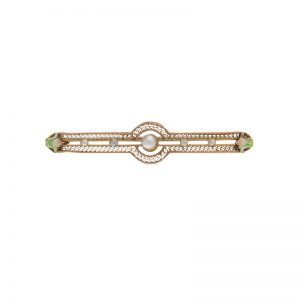 Antique 10K Yellow Gold Filigree Brooch w/ Enamel Flowers & 5 Pearls