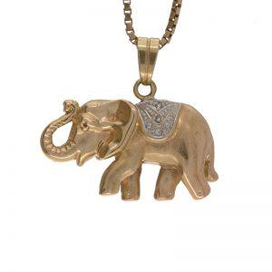 14K Yellow Gold 25mm Puffed Elephant 1 Diamond Pendant