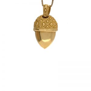 18K Yellow Gold Ornate Articulated Acorn Pendant