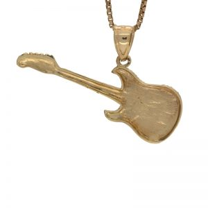 10K Yellow Gold 38mm Electric Guitar Pendant