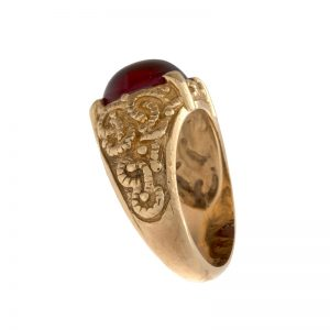 10K Yellow Gold 12mm Oval Cabochon Syn. Ruby Signet Style Ring