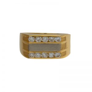 18K Yellow Gold Ring Set w/ 10 Diamonds & White Gold Satin Finish Centre