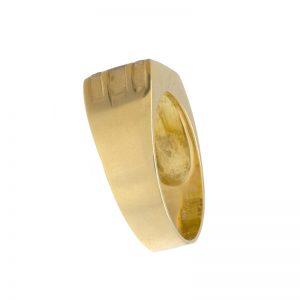 18K Yellow Gold Ring Set w/ 10 Diamonds & White Gold Satin Finish Centre