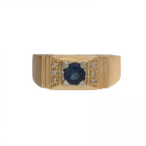 14K Yellow Gold Blue Sapphire & 6 Diamond Accent Signet Style Ring