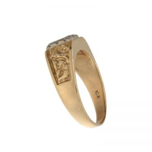 10K Yellow Gold 9 Diamond Square Signet Nugget-Style Ring