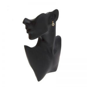 14K Yellow Gold Marquise Emerald & Diamond Dangle Stud Earrings