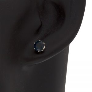14K White Gold 6mm Round Blue Sapphire Stud Style Earrings