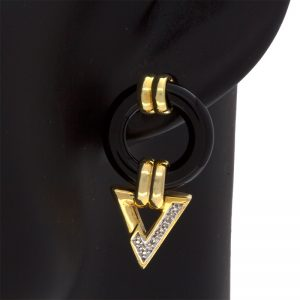 14K Yellow Gold Black Onyx Donut & 2 Diamond Dangle Stud Earrings