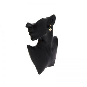 14K Yellow Gold Black Onyx Donut & 2 Diamond Dangle Stud Earrings
