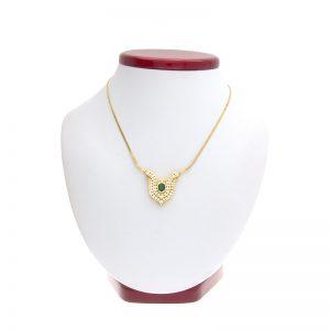 18K Yellow Gold Bezel Set Emerald & Diamond Pendant & Necklace