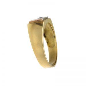 Custom 18K Tri- Gold .12CT Diamond Signet Style Ring
