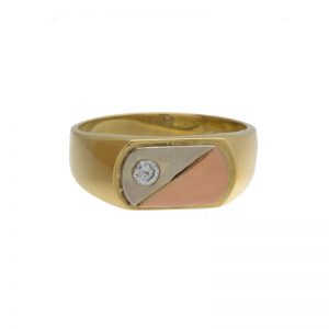 Custom 18K Tri- Gold .12CT Diamond Signet Style Ring