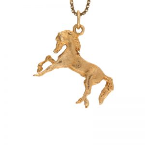 14K Yellow Gold 25mm Prancing Horse Charm/Pendant