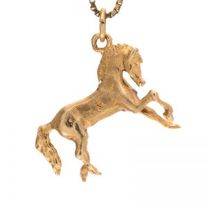 14K Yellow Gold 25mm Prancing Horse Charm/Pendant