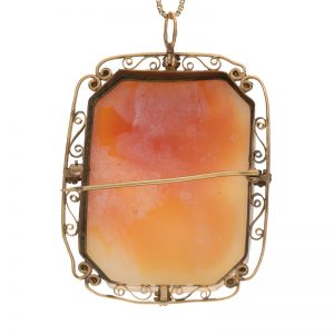 Antique 10K Yellow Gold Rectangular Cameo Brooch/Pendant