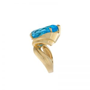 14K Yellow Gold 17CT Pear Shape Blue Topaz Ring