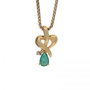 14K Yellow Gold 6mm Pear Cut Emerald & Diamond Pendant