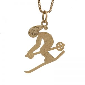 10K Yellow Gold 20mm Diamond Cut Skier Charm/Pendant