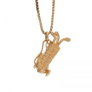 14K Yellow Gold Golf Bag & Clubs Charm/Pendant
