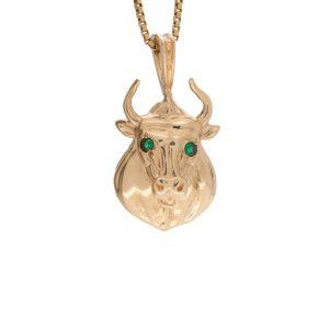 10K Yellow Gold Bull Head Pendant w/ Created Emerald Eyes