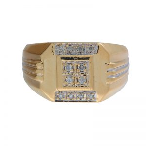 10K Yellow & White Gold Signet Style Ring w/ 12 Diamonds