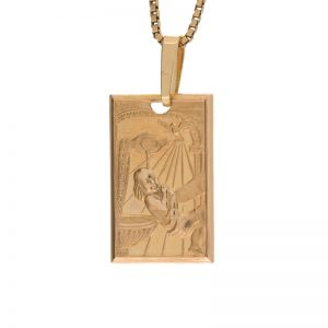 10K Yellow Gold 13mm Rectangular Scenic Baptism Pendant